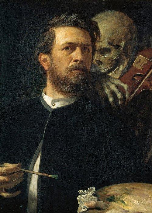 Self Portrait With Death Greeting Card featuring the digital art Self Portrait With Death by Arnold Bocklin