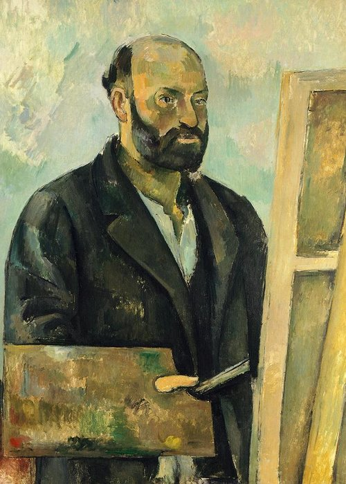 Art Greeting Card featuring the painting Self Portrait With Palette by Paul Cezanne