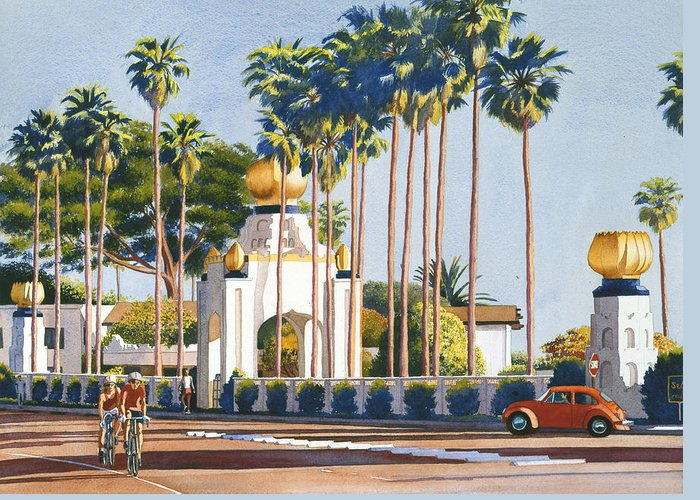 Self Realization Greeting Card featuring the painting Self Realization Fellowship Encinitas by Mary Helmreich