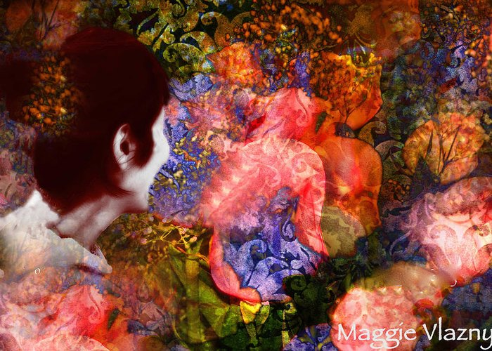 Art Greeting Card featuring the painting Girl Looking Toward Future by Femina Photo Art By Maggie