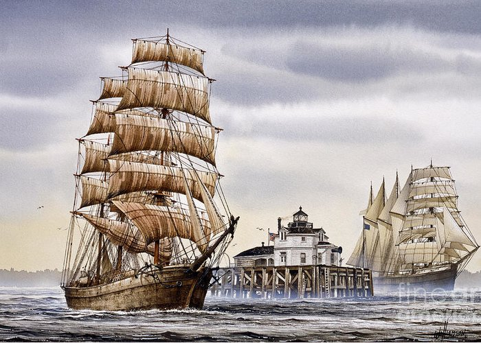 Tall Ship Print Greeting Card featuring the painting Semi-ah-moo Lighthouse by James Williamson
