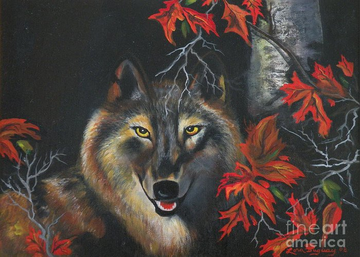 Wolf Greeting Card featuring the painting Seneca by Lora Duguay