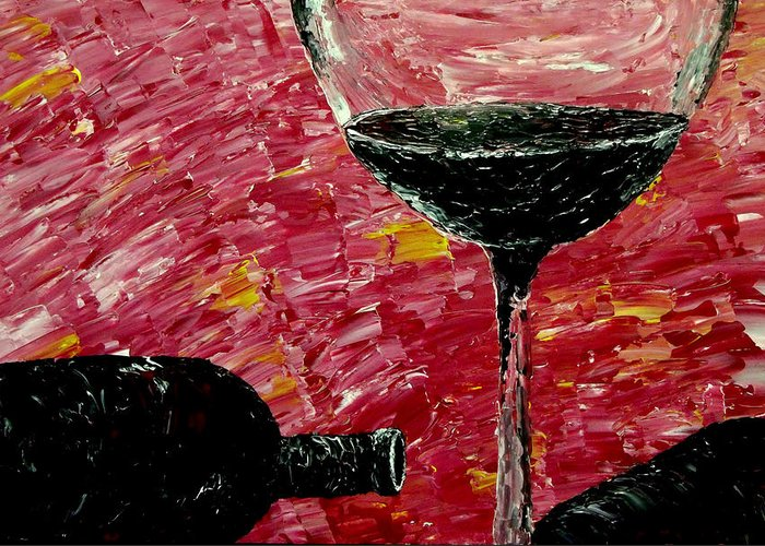 Fine Wine Greeting Card featuring the painting Sensual Illusions by Mark Moore