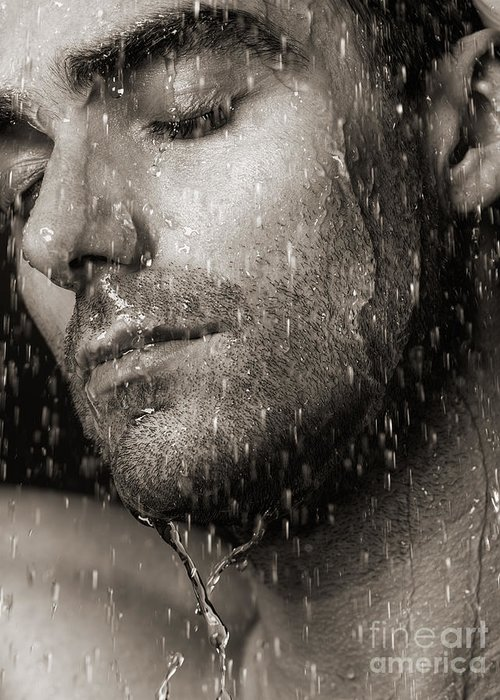 Man Greeting Card featuring the photograph Sensual Portrait Of Man Face Under Pouring Water Black And White by Oleksiy Maksymenko