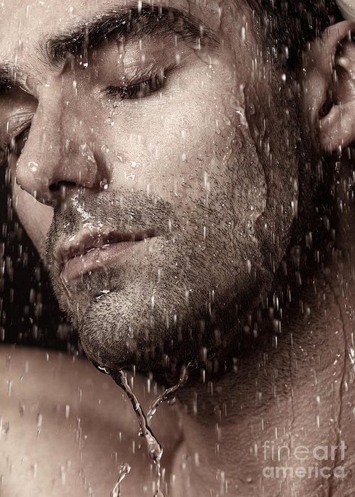 Man Greeting Card featuring the photograph Sensual Portrait Of Man Face Under Pouring Water by Oleksiy Maksymenko