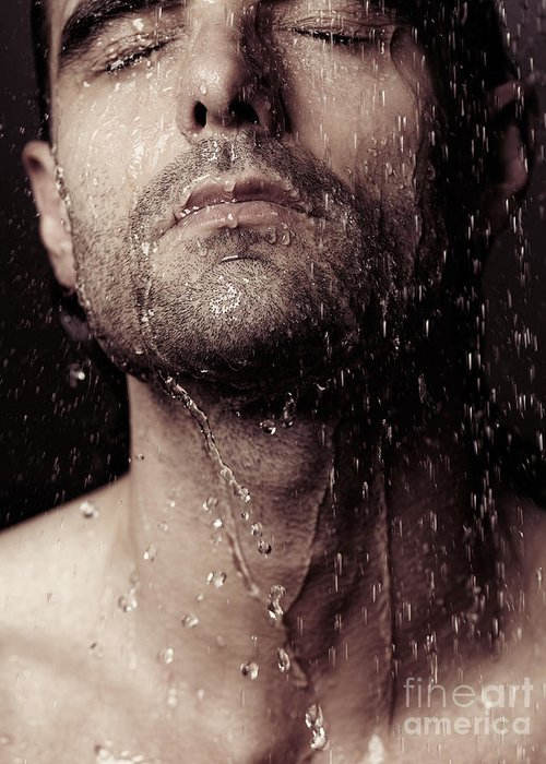Man Greeting Card featuring the photograph Sensual Portrait Of Man Face Under Shower by Oleksiy Maksymenko