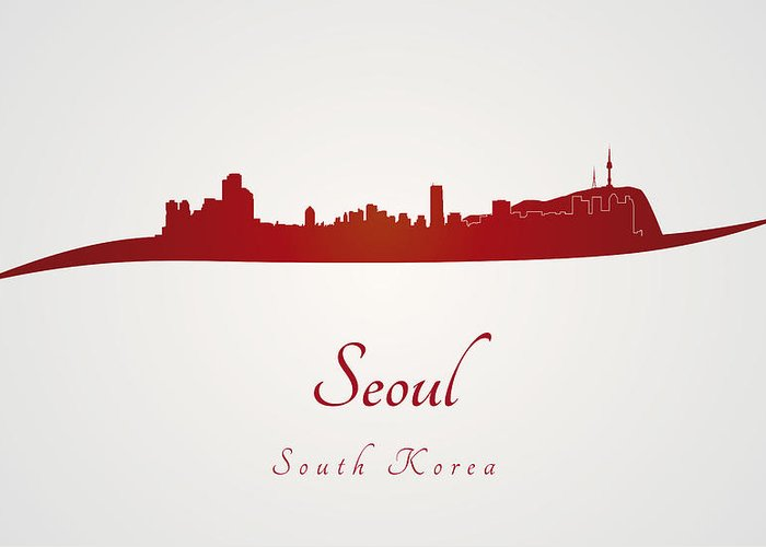 Seoul Skyline Greeting Card featuring the digital art Seoul Skyline In Red by Pablo Romero