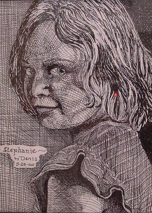 Portraiture Greeting Card featuring the drawing Sephannie by Denis Gloudeman