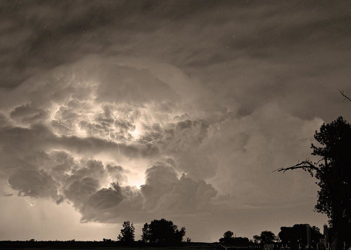 Lightning Greeting Card featuring the photograph Sepia Light Show by James BO Insogna