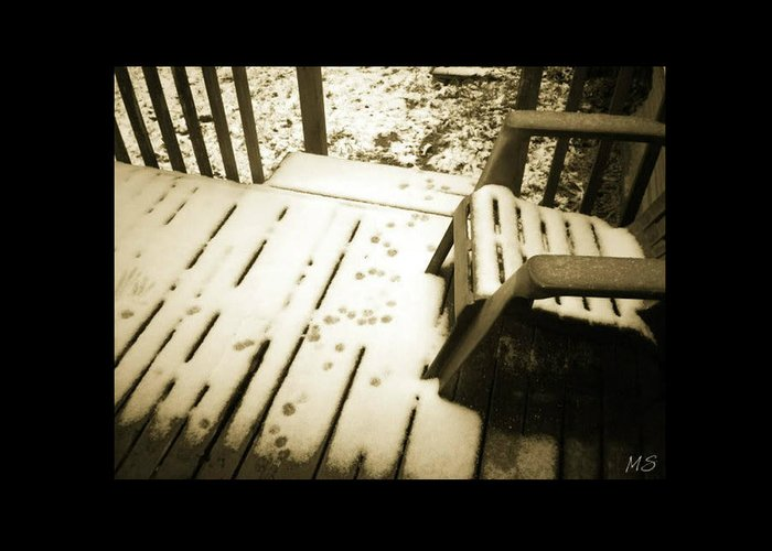 Sepia Greeting Card featuring the photograph Sepia - Nature Paws In The Snow by Absinthe Art By Michelle LeAnn Scott