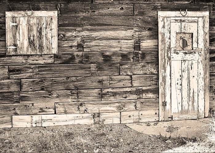 Rustic Greeting Card featuring the photograph Sepia Rustic Old Colorado Barn Door And Window by James BO Insogna
