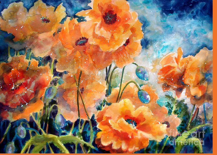 Paintings Greeting Card featuring the painting September Orange Poppies      by Kathy Braud