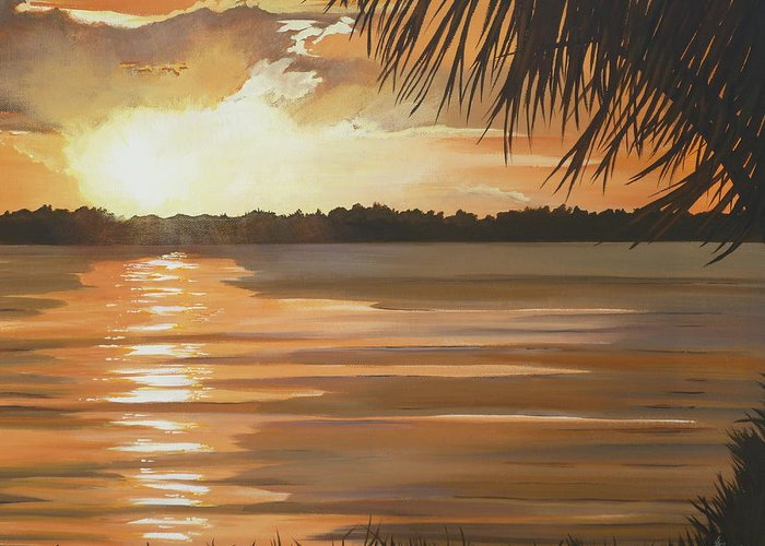 Sunset Greeting Card featuring the painting September Sunset 7 32pm Haulover Park by Lori Royce