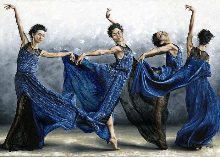 Dance Greeting Card featuring the painting Sequential Dancer by Richard Young