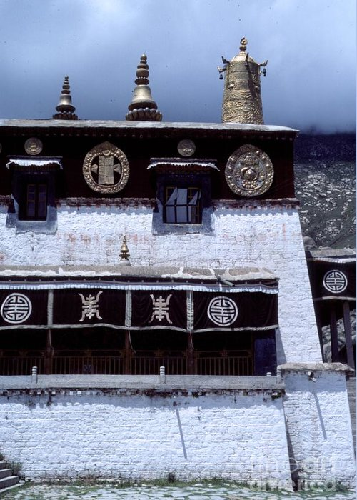 Sera Monastery Greeting Card featuring the photograph Sera Monastery - Lhasa Tibet by Anna Lisa Yoder
