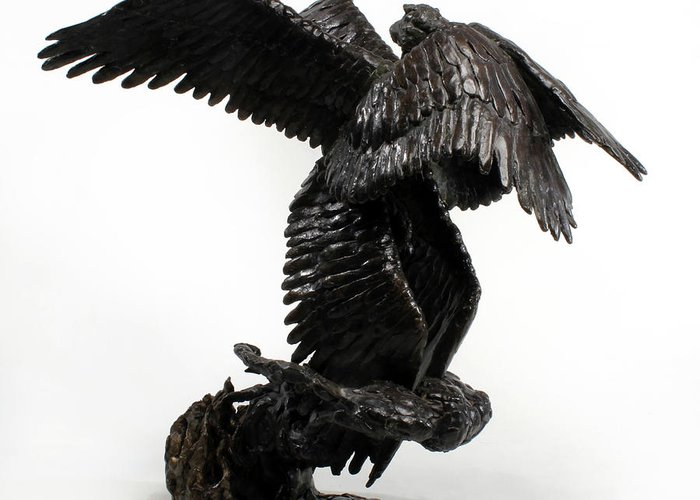 Bronze Greeting Card featuring the sculpture Seraph Angel A Religious Bronze Sculpture By Adam Long by Adam Long