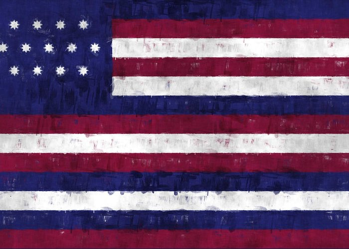 American Flags Greeting Card featuring the digital art Serapis Flag by World Art Prints And Designs
