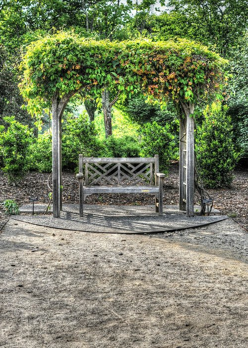 Bench Greeting Card featuring the photograph Serene Bench by Amber Summerow