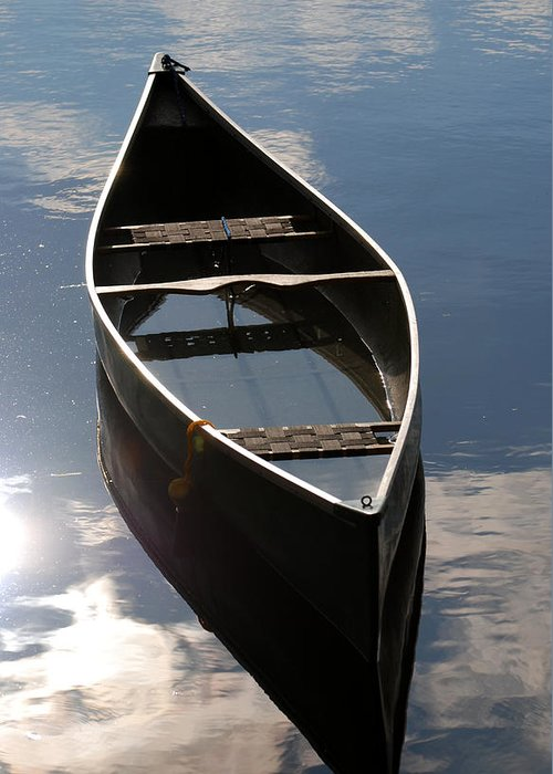 Canoe Greeting Card featuring the photograph Serene Canoe With Sky by Renee Forth-Fukumoto