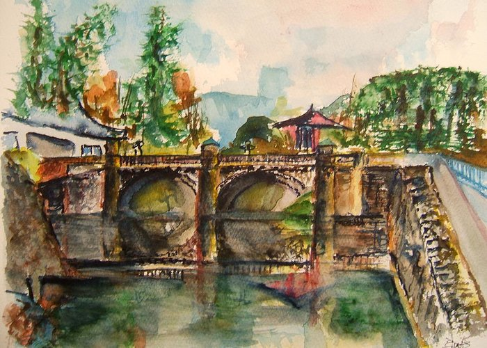 Japan Greeting Card featuring the painting Serene Walkway by Elaine Duras