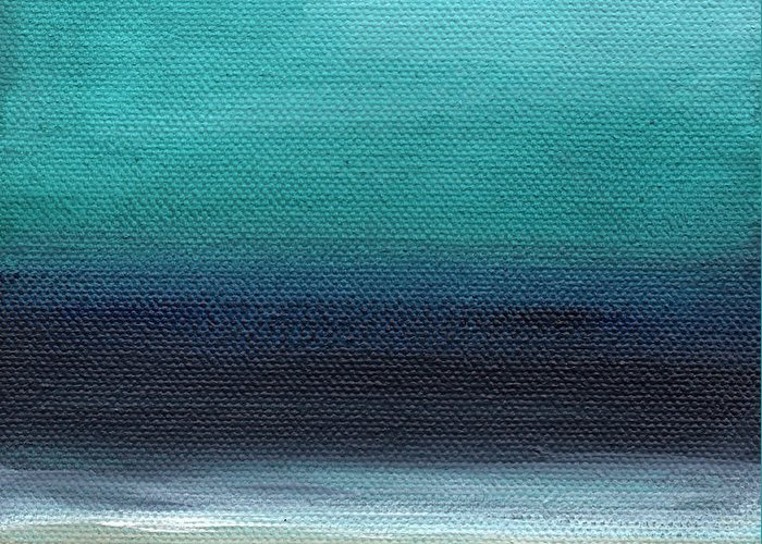 Beach Greeting Card featuring the painting Serenity- Abstract Landscape by Linda Woods