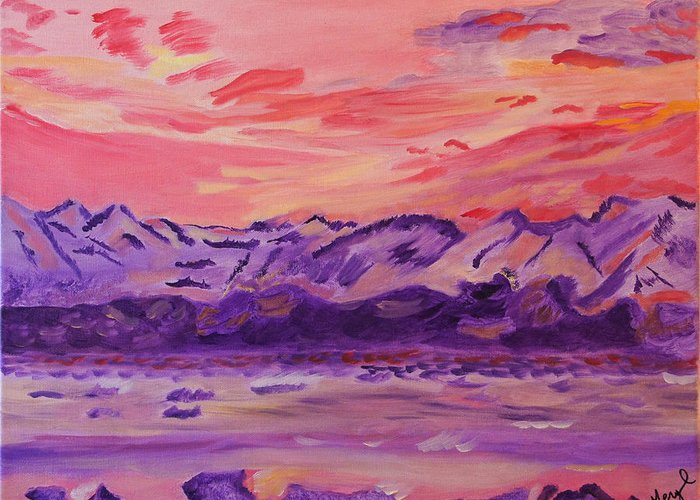 Mountains Greeting Card featuring the painting Serenity by Meryl Goudey