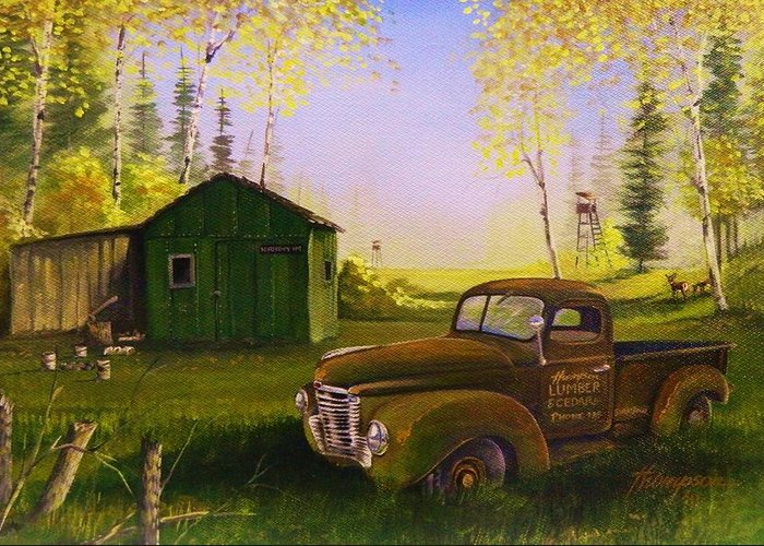 Old Truck Greeting Card featuring the painting Serenity One O One by Whitey Thompson