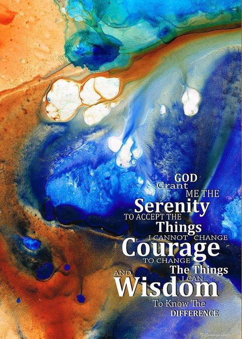 Serenity Prayer Greeting Card featuring the painting Serenity Prayer 4 - By Sharon Cummings by Sharon Cummings