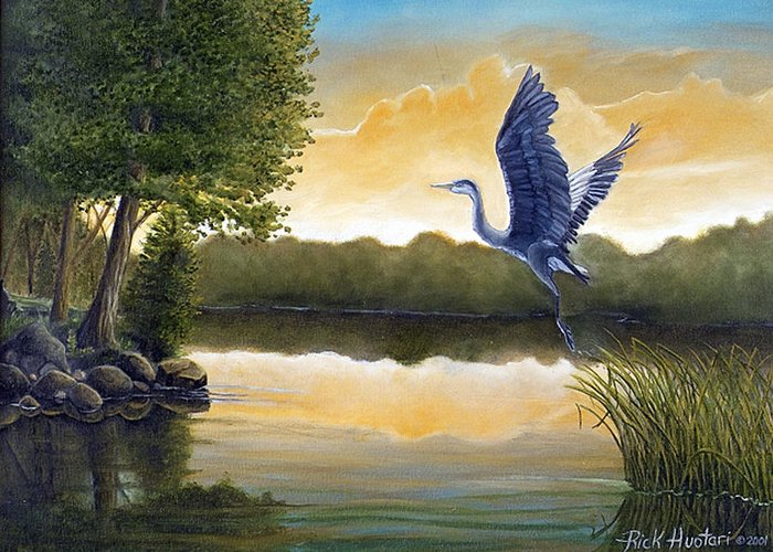 Rick Huotari Greeting Card featuring the painting Serenity by Rick Huotari
