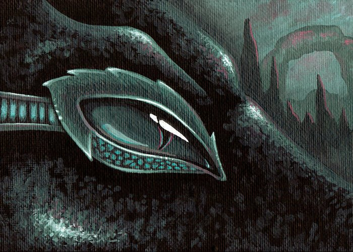 Sea Serpent Greeting Card featuring the painting Serpent Of The Coral Gardens by Elaina Wagner