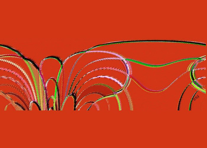 Red Abstract Greeting Card featuring the digital art Serpentine by Ben and Raisa Gertsberg
