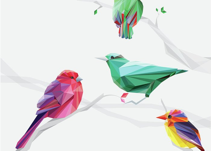Funky Greeting Card featuring the digital art Set Of Abstract Geometric Colorful Birds by Pika111