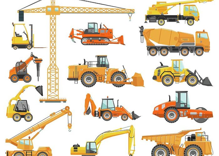 Hydraulic Platform Greeting Card featuring the digital art Set Of Detailed Heavy Construction And by Alexyustus