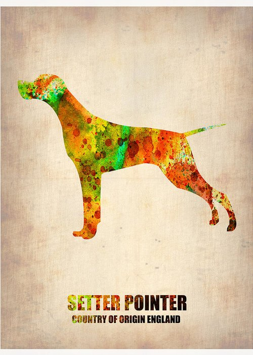 Setter Pointer Greeting Card featuring the painting Setter Pointer Poster by Naxart Studio