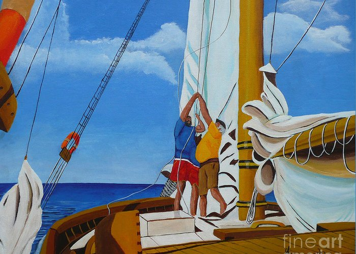 Sail Greeting Card featuring the painting Setting Sail by Anthony Dunphy
