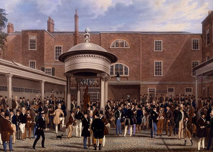 Tattersalls Greeting Card featuring the drawing Settling Day At Tattersalls, Print Made by James Pollard