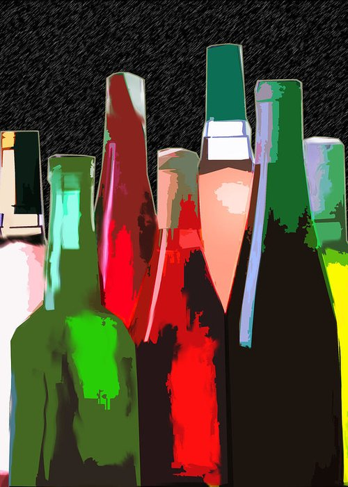 Wine Greeting Card featuring the painting Seven Bottles Of Wine On The Wall by Elaine Plesser