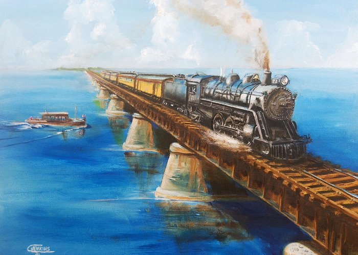 Train On Bridge Greeting Cards