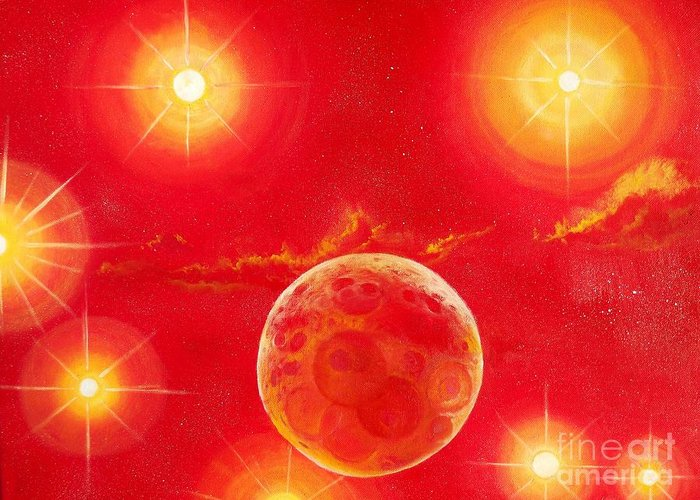 Planet Greeting Card featuring the painting Seven Suns by Murphy Elliott