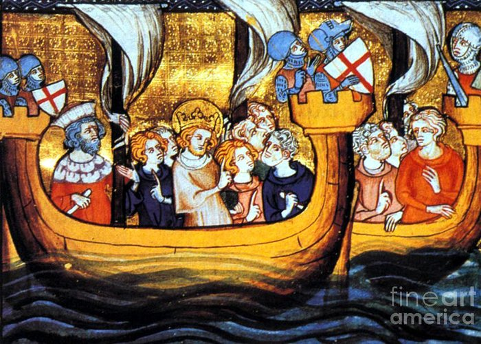 Navigation Greeting Card featuring the photograph Seventh Crusade 13th Century by Photo Researchers