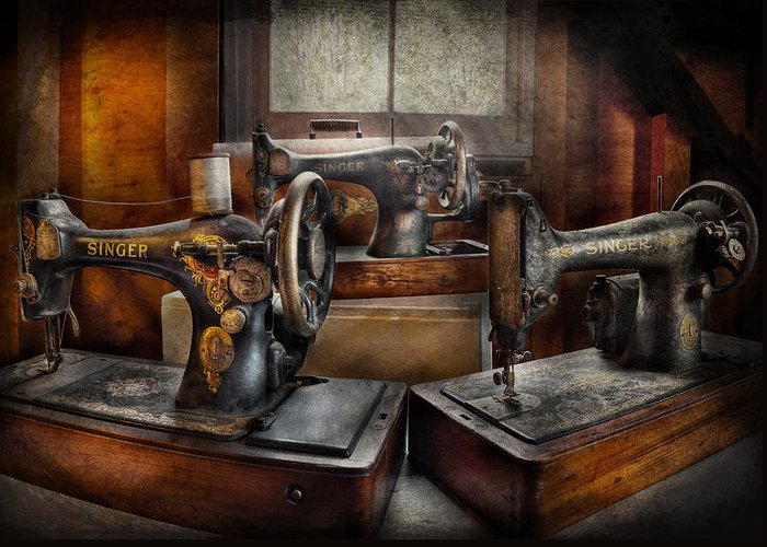 Hdr Greeting Card featuring the photograph Sewing - A Chorus Of Three by Mike Savad