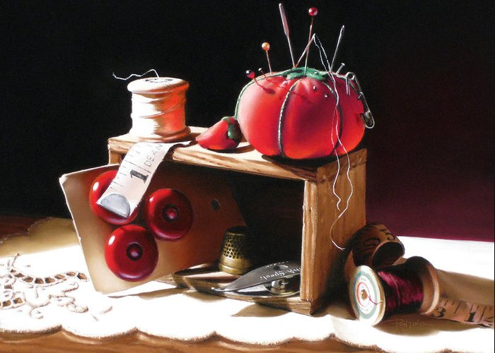Sewing Greeting Card featuring the painting Sewing Box In Reds by Dianna Ponting