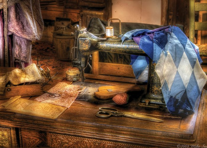 Savad Greeting Card featuring the photograph Sewing Machine - Sewing Machine IIi by Mike Savad