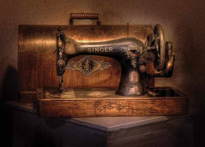 Savad Greeting Card featuring the photograph Sewing Machine - Singer by Mike Savad