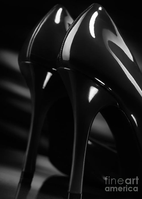 High Heels Greeting Card featuring the photograph Sexy Black High Heel Shoes Closeup by Oleksiy Maksymenko