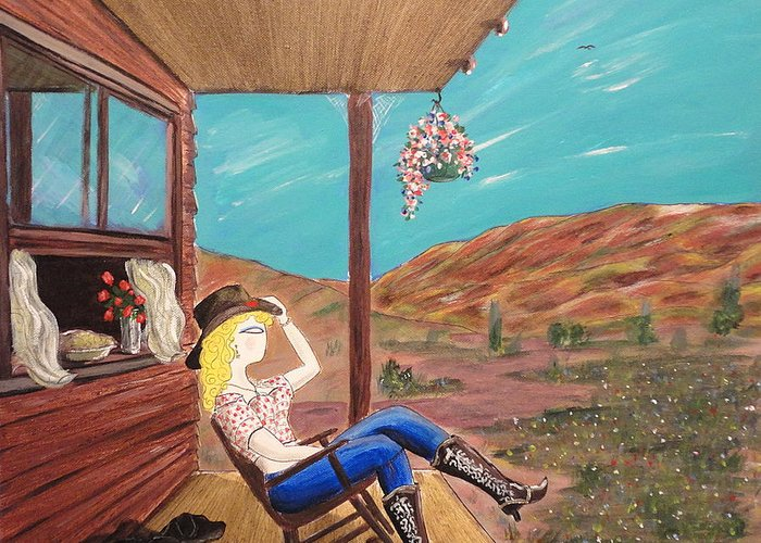 John Lyes Greeting Card featuring the painting Sexy Cowgirl Sitting On A Chair At High Noon by John Lyes