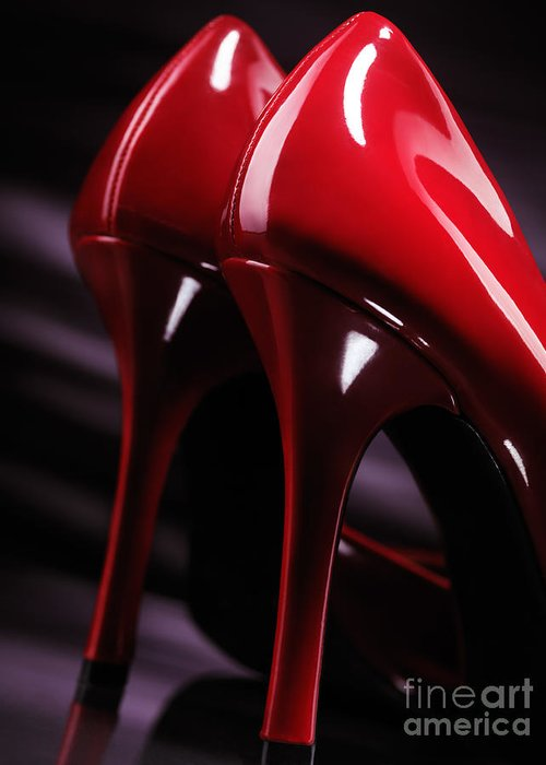 High Heels Greeting Card featuring the photograph Sexy Red High Heel Shoes Closeup by Oleksiy Maksymenko