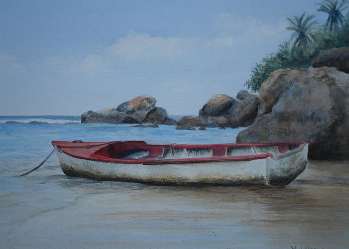 Landscape Greeting Card featuring the painting Seychelles Memories by Maruska Lebrun