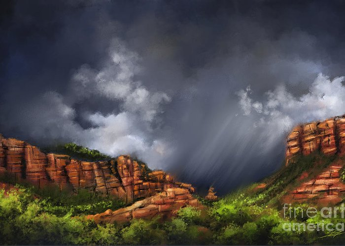 Sedona Greeting Card featuring the painting Thunderstorm in Sedona by - Artificium -