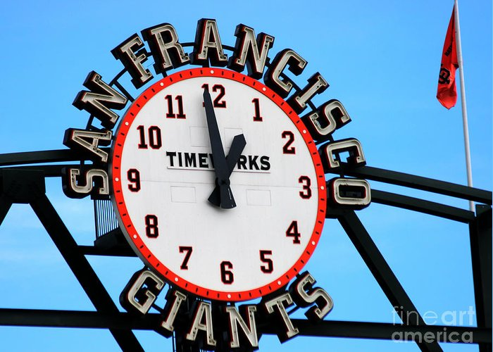 San Francisco Giants Greeting Card featuring the photograph San Francisco Giants Baseball Time Sign by Tap On Photo